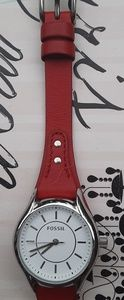 Fossil Red Leather and Stainless Steel Watch